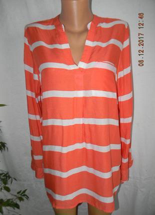 Легкая натуральная блуза в полоску f&f