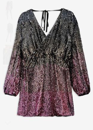 Шикарное платье в пайетку с длинными рукавами topshop