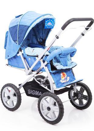 Детская коляска с перекидной ручкой Sigma H-225 F, голубая