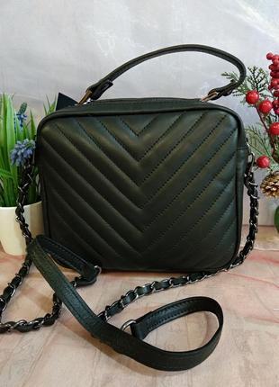Шикарная сумочка-кроссбоди vera pelle италия чёрная