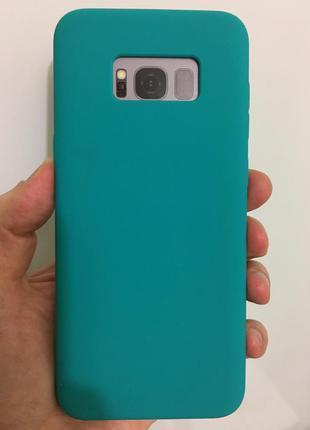 Стильный силиконовый чехол зеленый для samsung s8 plus