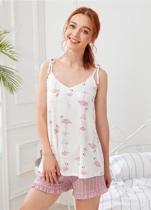 Пижама женская с принтом фламинго. комплект из топа и шортов д...