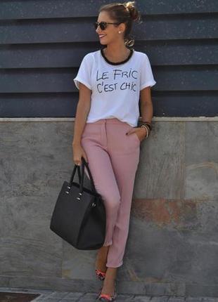 Стильные розовые брюки с высокой посадкой marks& spencer