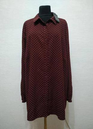 Стильная натуральная рубашка в горошек большого размера