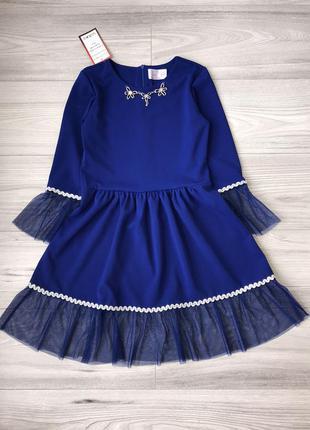 Стильное нарядное платье на рост 116-152см электрик