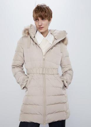 Непромокаемый пуховик zara р.xs, s, оригинал куртка пух пухова...