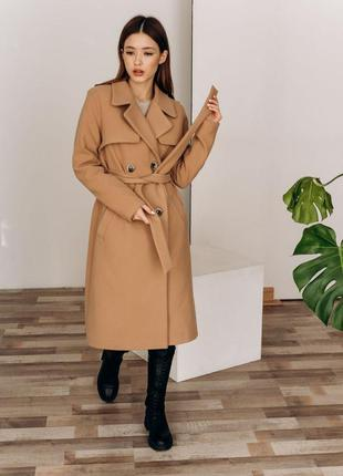 Кашемировое пальто тренч демисезон длинное миди бежевое