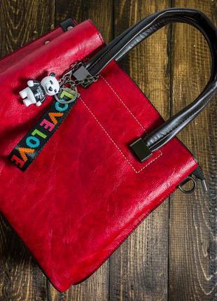 Женская Сумка из Искусственной Кожи (V1017) Красная