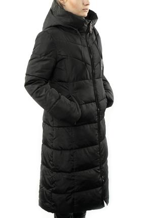 Женская Курточка Длинная Зимняя (WO905) Черная