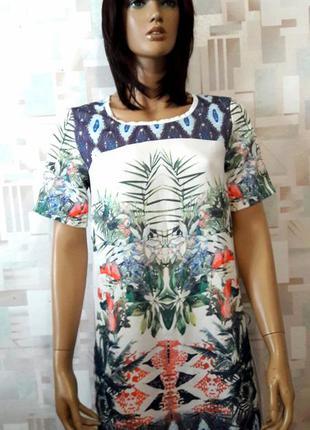 Красивое платье футляр в цветочный принт от zara trafaluc