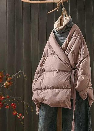 Классная ,оригинальная куртка пуховик деми назапах