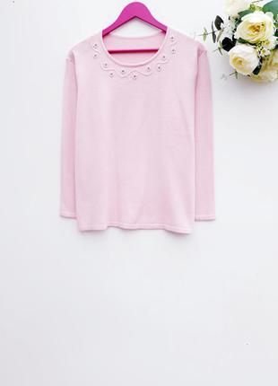 Шерстяный свитер джемпер нежно розовый свитер с бисером