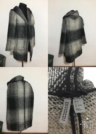 Легкое фирменное шерстяное пальто кардиган оверсайз в клетку, ...