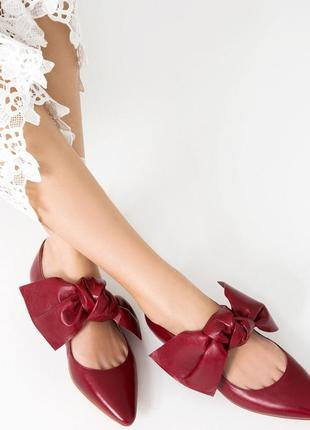 Кожаные туфли лодочки балетки с бантами zara