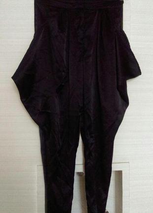 Винтажные шелковые черные брюки штаны бананы