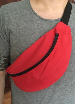 Сумка бананка на пояс поясная сумка красная probeauty