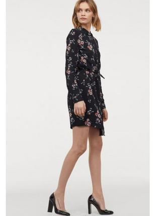 Платье рубашка с цветочным принтом