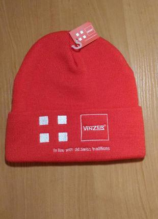 Тёплая шапка vinzer кораллового цвета, двойная вязка