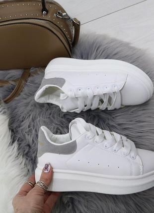Белые кроссовки в стиле alexander mcqueen,стильные белые кеды ...