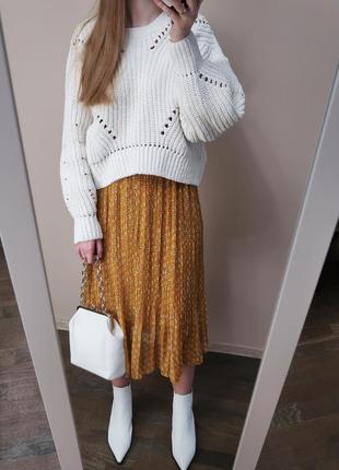 Вкорочений светр оверсайз / свитер крупной вязки / джемпер
