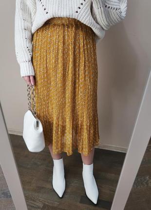 Шифонова міді спідниця amour/ плиссированная юбка миди