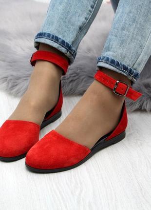 Замшевые красные босоножки
