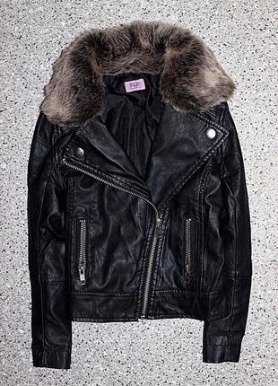 Куртка кожанка косуха с мехом