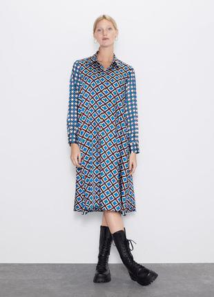 Платье -рубашка зара р. с, платье в наличии - оригинал