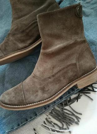 Демисезонные ботинки полусапожки натуральные замшевые ботинки