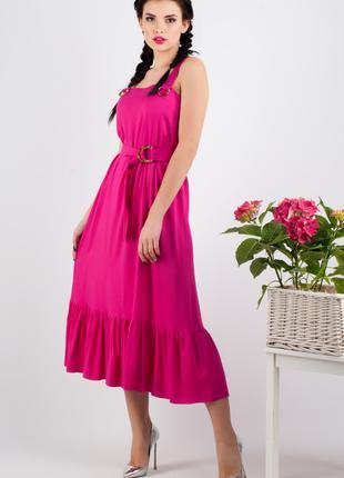 Сарафан женский летний розового цвета на широких бретелях