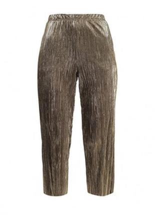🔥🔥🔥стильные золотые плиссированные женские укороченные брюки, ...