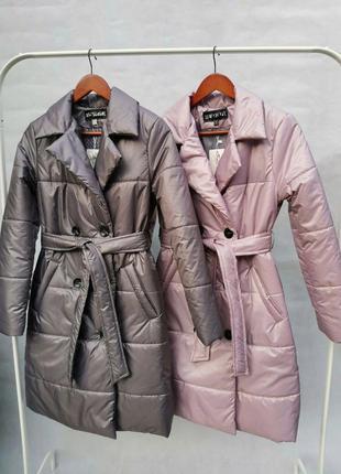 Тренч куртка удлиненная с поясом пальто пуховик демисезон на в...