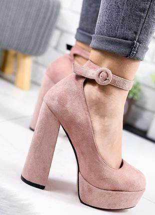 ❤ женские пудровые туфли на высоком каблуке ❤