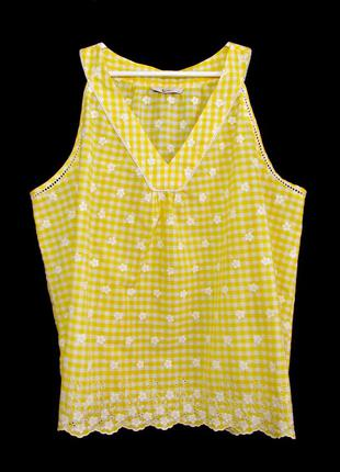 100% хлопок! нежная блуза  в клетку с прошвой и вышивкой р.22