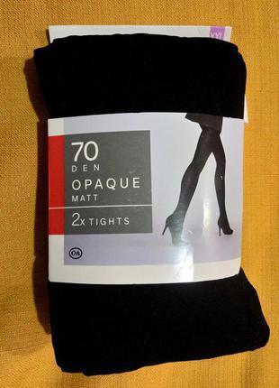 Чёрные матовые колготки 70 den c&a сток размер ххl 52-54 двое ...