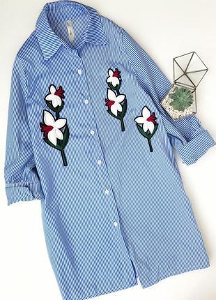 Голубое синее платье рубашка туника в полоску с вышивкой цветыми