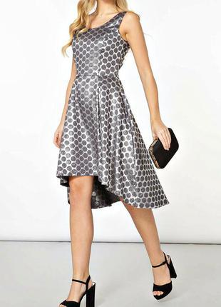 Luxe серебристое жаккардовое платье с удлиненной спинкой р.16