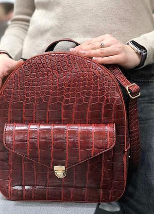 Модный женский рюкзак эко-кожа красный