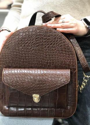 Модный женский рюкзак эко-кожа шоколадный