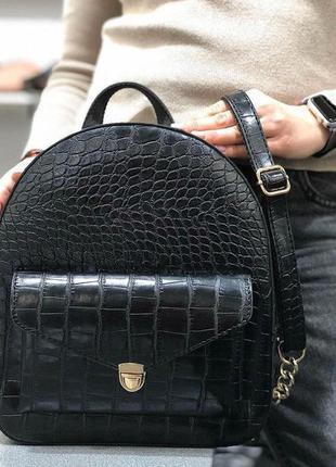 Модный женский рюкзак эко-кожа черный