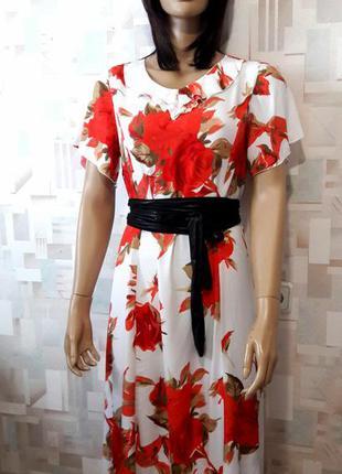 Красивое натуральное  платье миди в цветочный принт германия