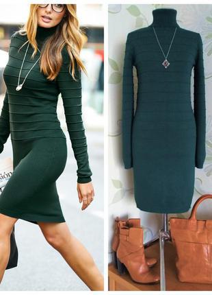 Платье вязаное трикотажное платье-гольф темно-зеленое