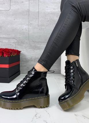 ❤ женские черные весенние демисезонные кожаные лаковые ботинки...