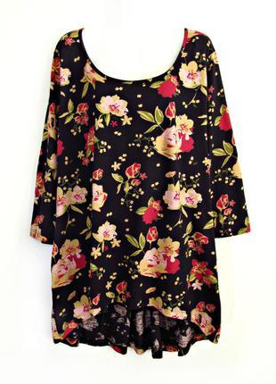 Скидка до 15.03! удлиненная мягкая блузка/туника в цветочек из...
