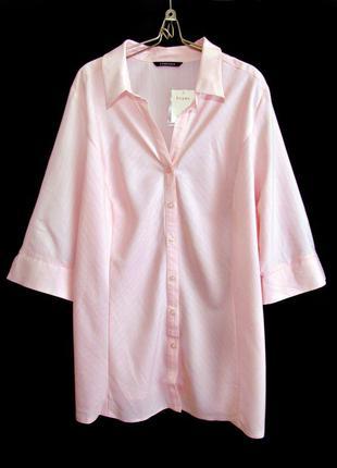 Распродажа! нежная розовая рубашка на пуговичках в тонкую поло...