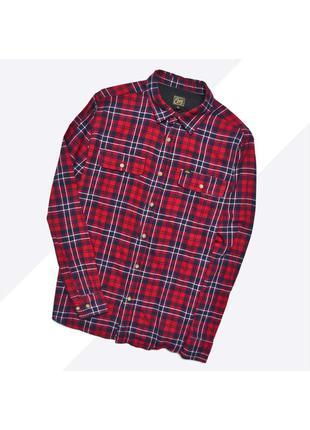 Obey l / оригинальная рубашка в красно-синюю крупную клетку