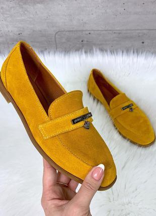 ❤ женские желтые замшевые  туфли лоферы ❤
