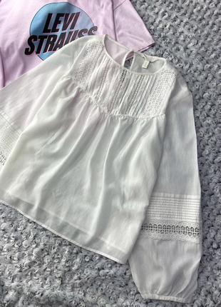 Натуральная легенькая рубашка с объёмными рукавами h&m