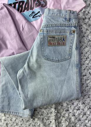 Винтажные мом джинсы плотные с высокой посадкой