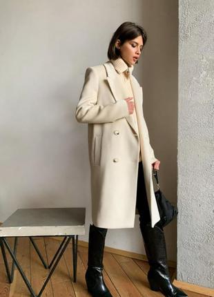 Молочное белое пальто шерстяное классическое вовняне класичне ...